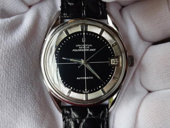 Relógio Universal Genève Polerouter Date Preto Antigo Auto