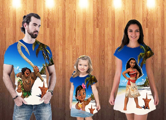 Blusa Pai E Vestidos Mãe E Filha - Mauí & Moana