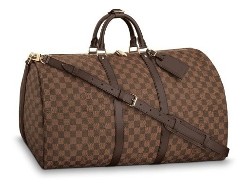 Mala Louis Vuitton Viagem Marrom Keepall Couro 100%