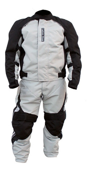 Conjunto Chamarra Y Pantalon Color Gris Traje Motociclista