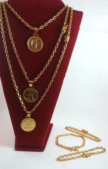 Cordao Cadeado 5mm + Pulseira + Pingente Banhado Ouro 18k