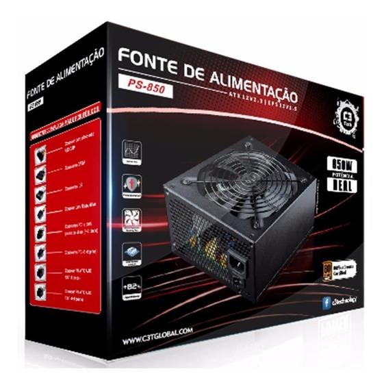 Fonte Atx 850w 80 Plus - Ps-850 - Modular - C3 Tech