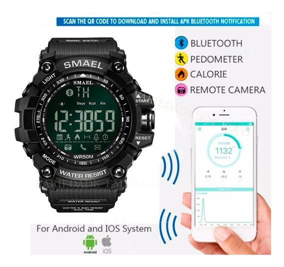 Relógio Smael Pedômetro Bluetooth Prova D´água