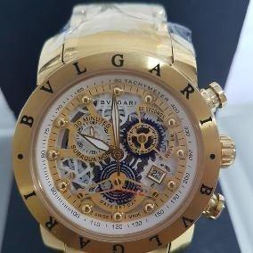 Relógio Bv Skleton Bateria Dourado