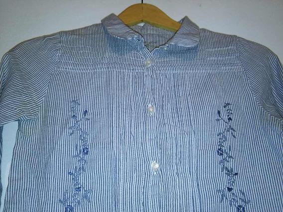 Camisa Cheeky Talle 12 A Rayas Y Bordada Tela Liviana