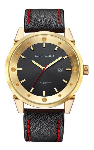 Relógio Masculino Dourado Casual De Luxo Pulseira Em Couro