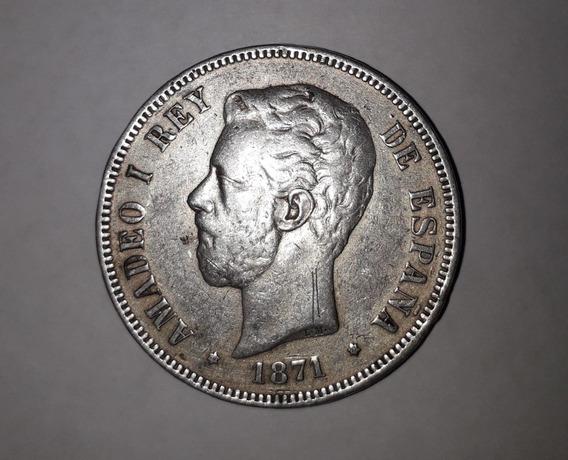 5 Pesetas 1871 Amadeo 1 Rey (solo 45.000 Ejemplares)