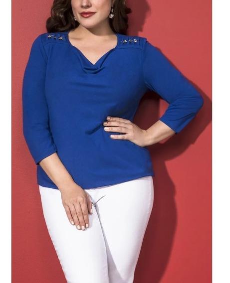 Look Elegante Blusa Dama Escote Drapeado Blue Fiesta 1392616