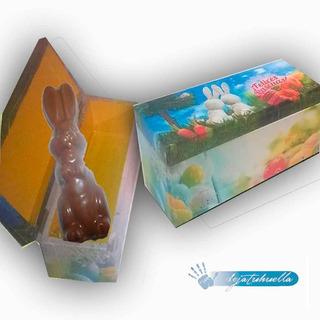 Pascuas Cofre De Madera Con Conejo De Chocolate.