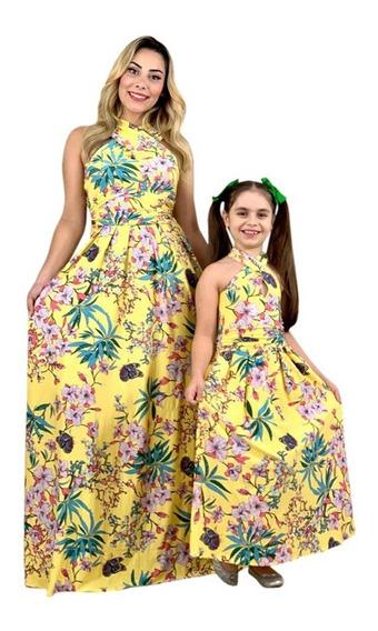 Tal Mãe Tal Filha Vestido Longo Estampa Flores Promoção
