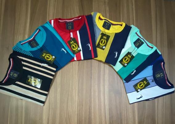 Kit 4 Camisas A/l Listradas Masculina Promoção