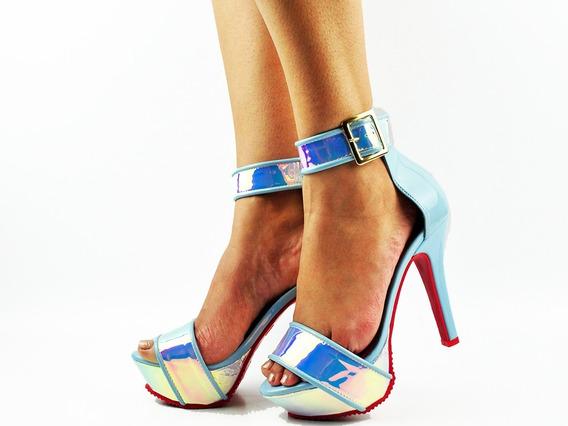 Sandália Azul Brilhante Numeração Especial Grande Top 20002