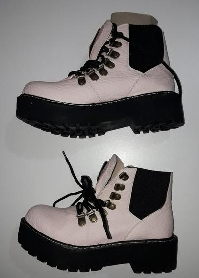 Zapato Bota / Borcego Ecocuero Rosa Base Negra Con Cordones