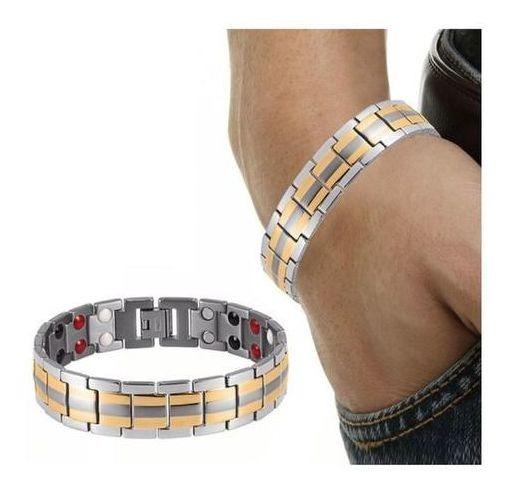 Pulseira Bracelete Masculino Magnetico Aço Inoxidavel