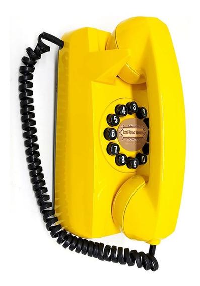 Telefone E Interfone De Parede Amarelo Vintage