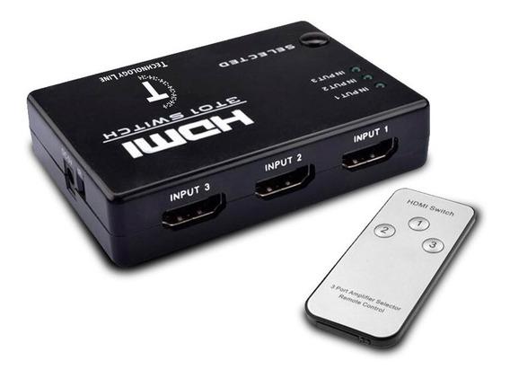 Switch Hdmi C/ Control 3 Bocas Por Mayor 10 Unidades