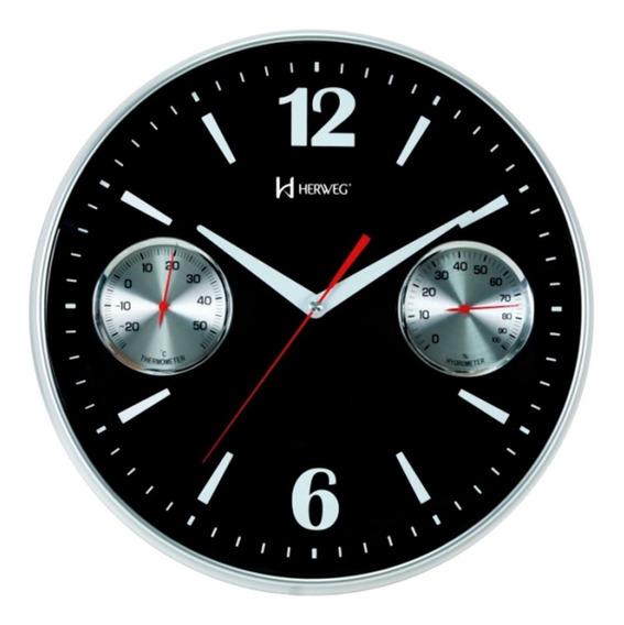 Relógio 6441 Parede Termômetro Higrômetro 35 Cm Preto Herweg