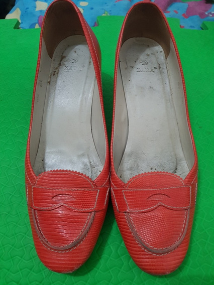 Zapatos Tipo Mocasin Con Taco Zara