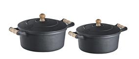 Jogo Panela Cacarola De Ferro E Alça De Madeira 1,0 E 1,55 L