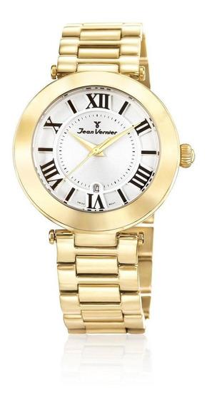 Relógio Pulso Jean Vernier Aço Feminino Casual Jv06855