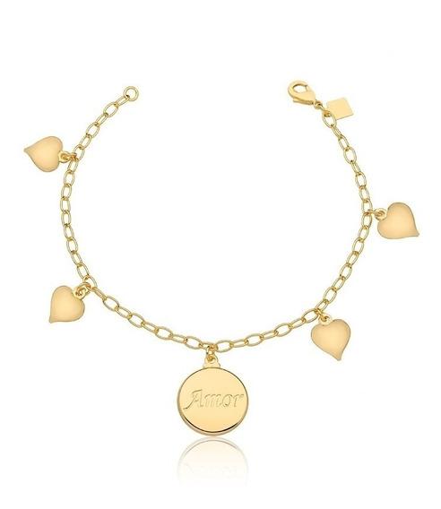 Pulseira Semijoia Premium Ouro 18k Corações E Medalha Amor