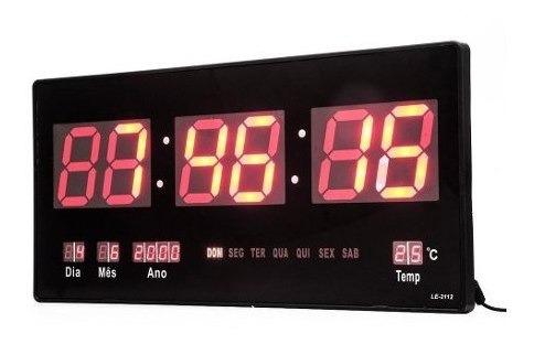 Relógio De Parede Led Digital 46cm Médio Termometro Recepção