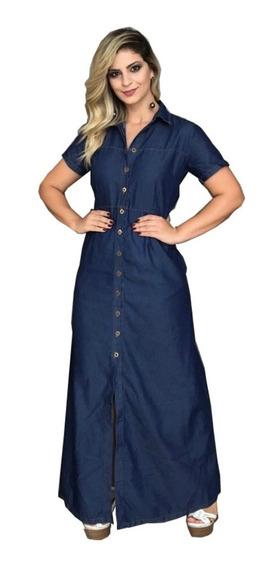 Roupas Femininas Vestido Longo Jeans Promoção Liquidação 040