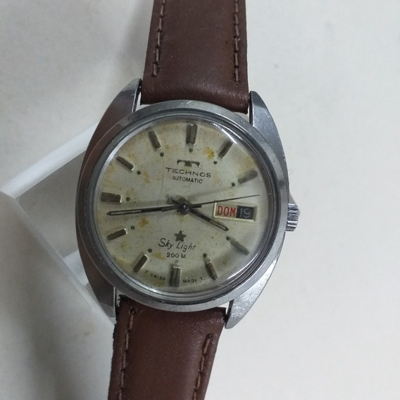 Relógio Technos Raro Swiss Star Light 200m Automatic Anos 70