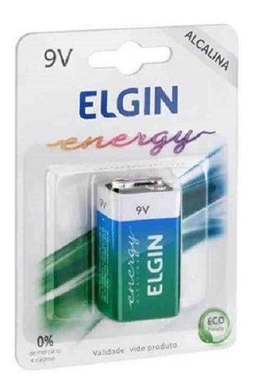 Bateria 9v Alcalina 6lr61 Elgin Inmetro No Blister Original