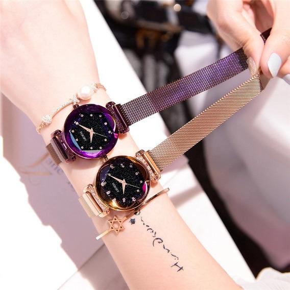 Relógio Feminino Pulseira Magnética Pulso Luxo