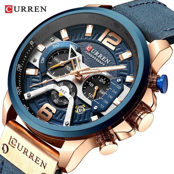 Relógio Curren 8329 Azul Lançamento Envio Imediato