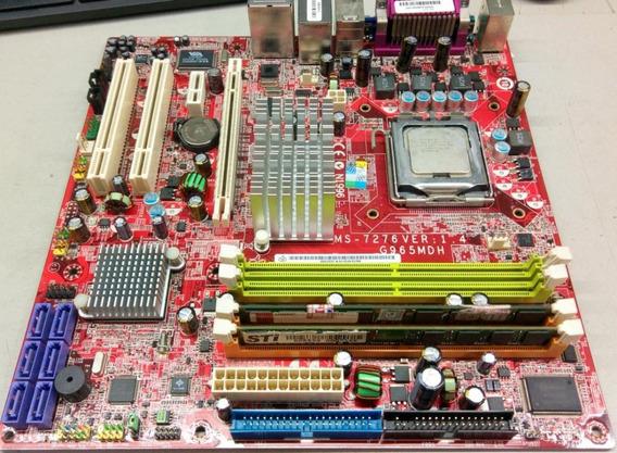 Kit Placa Mae 775 Via Ms-7276 Ver:1.4 Ddr-2 De 2g +core2duo