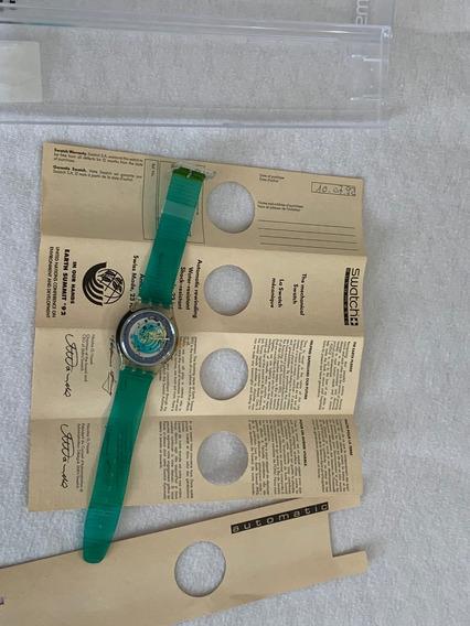 Relogio Swatch Sak102,earth Summit,onu, 1992, Sem Uso, Cx Ma