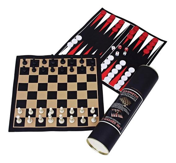 Kit Jogos (xadrez/dama/gamão) Com Peças Magnéticas. Incasa