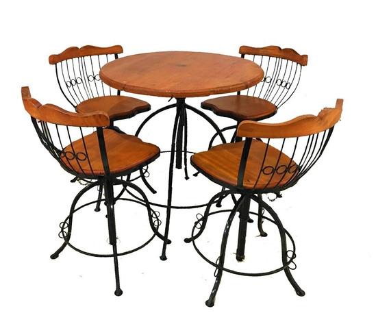 Jogo 4 Mesas+8 Cadeiras Banqueta Bistrô Rustico-envio Ja