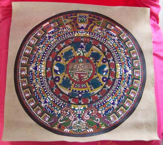 Tapiz De Gamuza Con Pintura Del Calendario Azteca - Haab L P