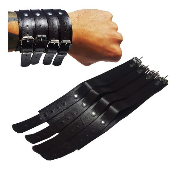 Pulseira Bracelete Couro 4 Fivelas Johnny Punk Rock Preta