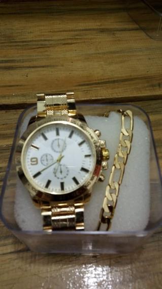Relógio Social Dourado Masculino