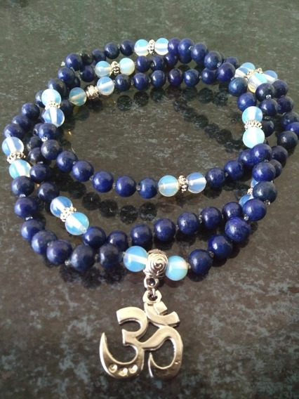 Japamala Lapis Lazuli C/pedra Da Lua 108 Contas 8mm