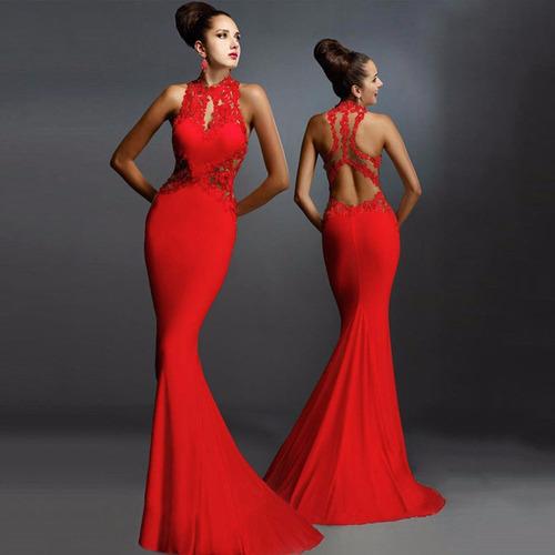 Vestido Largo Escote En Espalda Elegante Formal Fiesta --