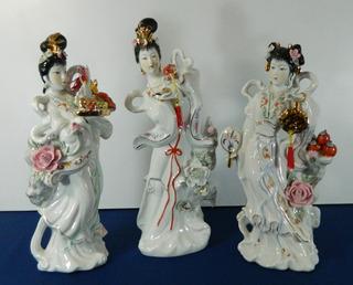 Tres Figuras Cerámica Alegorías De Las Estaciones China