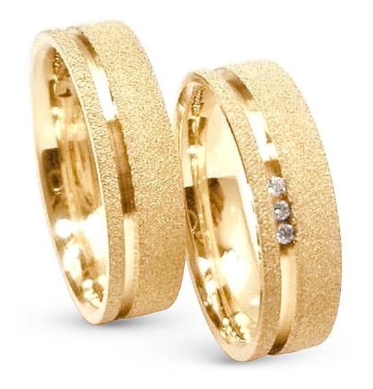 Par Alianças Ouro 18k 750 5 Gramas 3 Diamantes Casamento