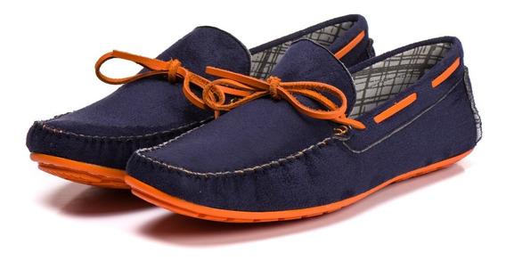 Sapatenis Sapato Masculino Azul Laranja Kapell Outlet Oferta