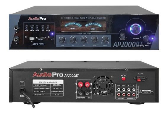Amplificador Bluetooth Ap2000bt / Usb Audiopro 2 Canales