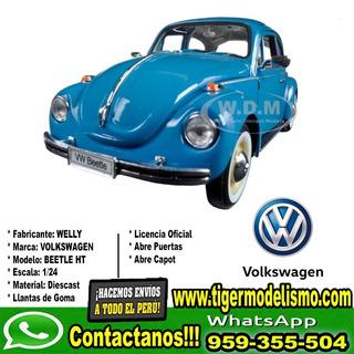 Auto Escala Vw Beetle Celeste Agua Welly 1/24 Sku: 266