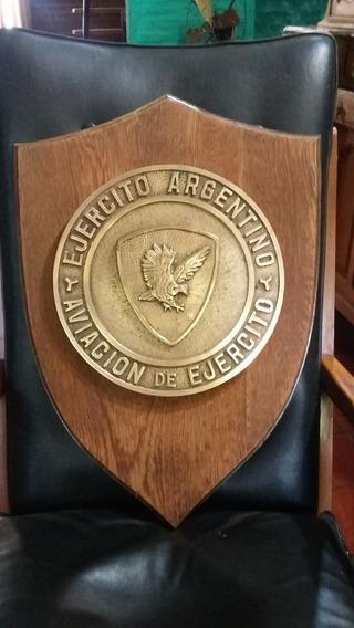 Ejército Argentino Escudo De Gran Tamaño En Bronce Y Roble
