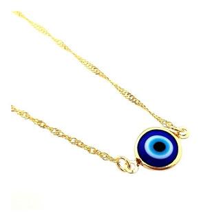 Corrente Com Pingente Olho Grego Azul Folheado A Ouro 18k