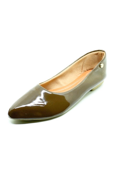 Sapatos Femininos Sapatilha Bico Fino Verniz Liso Dani K