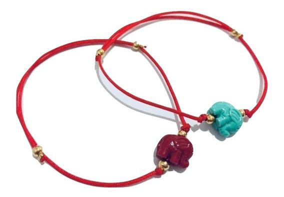 Pulsera Hilo Rojo Con Elefante Color Rojo
