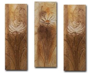 Trio De Quadros Sala Quarto Corredor Flores Marrom 20x60
